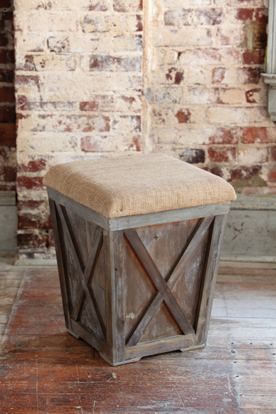 Town Country Stool With Burlap Cushion