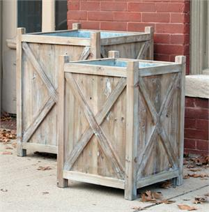 huge reclaimed wood planters with galvanized liners set of 2 - Wood Planters